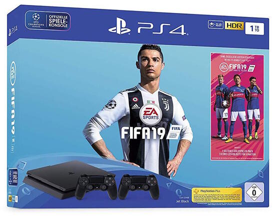 PlayStation 4 Slim 1TB Konsole inkl. Fifa 19 und 2ter DualShock 4 Controller